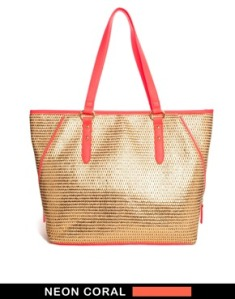 asos coral beach bag