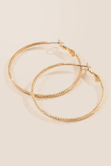 Draya Diamond Cut Hoop Earrings In Gold