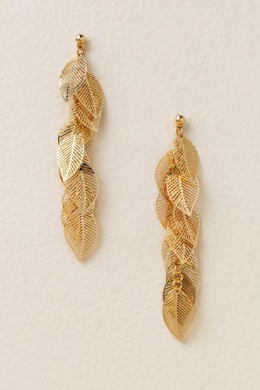 Wilson Leaf Drop Earrings in Gold