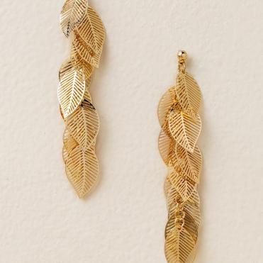 Wilson Leaf Drop Earrings in Gold