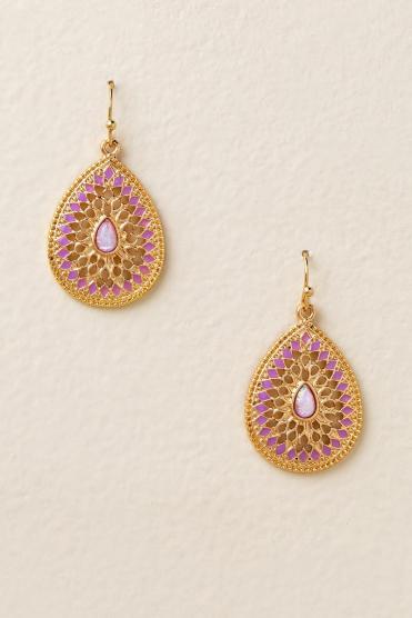 Gisele Pink Opal Teardrop Earrings