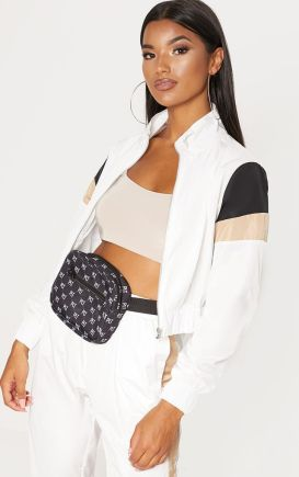 WHITE STRIPE SHELL TRACKSUIT TOP