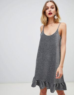 Pieces Ruffle Hem Glitter Cami Dress